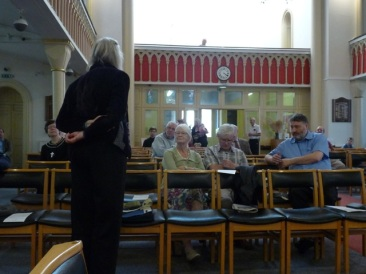 Composer Margaret Lucy Wilkins talking to the audience at St Botolph's (CNM Organ Trail 2014).