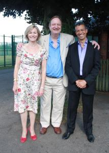 Susie Allan, Tim Torry and Roderick Williams after the Three Choirs performance, outside the Holy Trinity Church, Hereford.