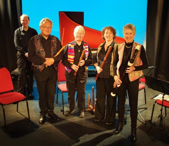 Recorder quartet with harpsichord concert , Headgate Theatre, 4 June 2016; Dulcis Venti recorder quartet with Francis Knights (harpsichord).