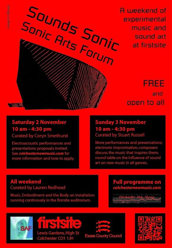 Sonic Arts Forum Festival 2013 poster.