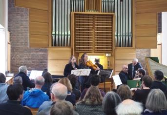 Ian Wilson's 'Be fruitful and Multiply' in performance: (l-r) Stephen Watkins, Ellen Jameson, Paula Muldoon, Francis Knights, Dan Tidhar
