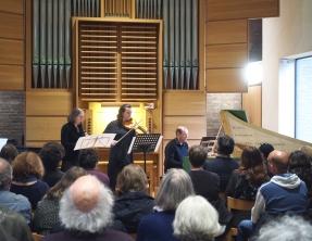 Colin Blundell's 'un aleatorio estudiado' in performance: (l-r) Ellen Jameson, Paula Muldoon and Francis Knights