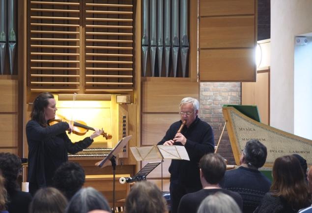 Julia Usher's piece in performance: Paula Muldoon and Stephen Watkins