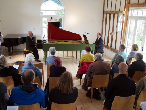 CNM New Music for Two Harpsichords concert 28 April 2018: harpsichordists Dan Tidhar (l) and Francis Knights (r)