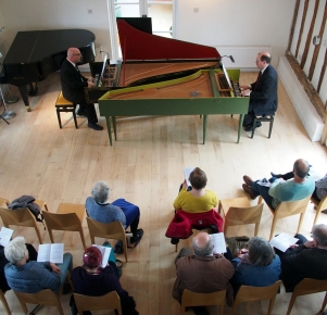 Music for Two Harpsichords concert 28 April 2018: harpsichordists Dan Tidhar (l) and Francis Knights (r)